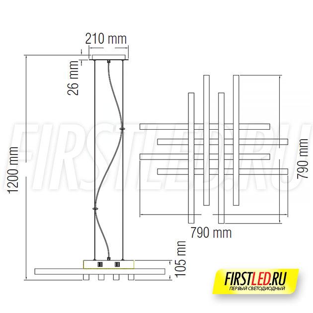 Чертеж (схема) светодиодной люстры ASFOR 85