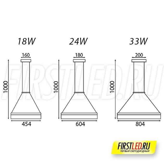 Чертеж (схема) светодиодной люстры ROYAL 18 / ROYAL 24 / ROYAL 33