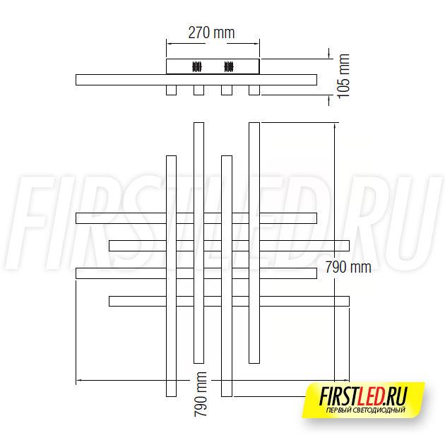 Чертеж (схема) светодиодной люстры TREND 85