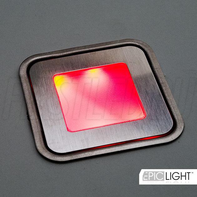 Многоцветный rgb светодиодный светильник для установки в пол CARPET.K — красный оттенок