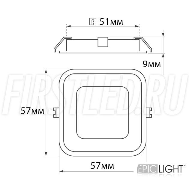 Чертеж (схема) светодиодного светильника CARPET.K