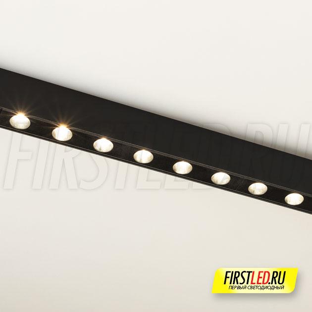 Магнитный трековый светильник MAG DOTS 25 L600 18W установленный в магнитом треке