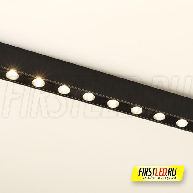 Магнитный трековый светильник MAG DOTS 25 L800 24W установленный в магнитом треке