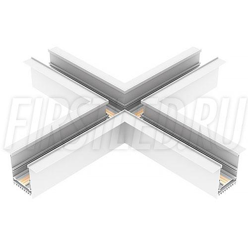 Крестовой X-образный коннектор для четырех безрамочных магнитных треков MAGNETIC TRACK F под прямыми углами 90°
