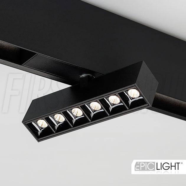 Магнитный трековый светильник MAGNETIC TURN DOT B 6W с поворотным корпусом в накладном треке (INF TURN SPOT LINE BK)