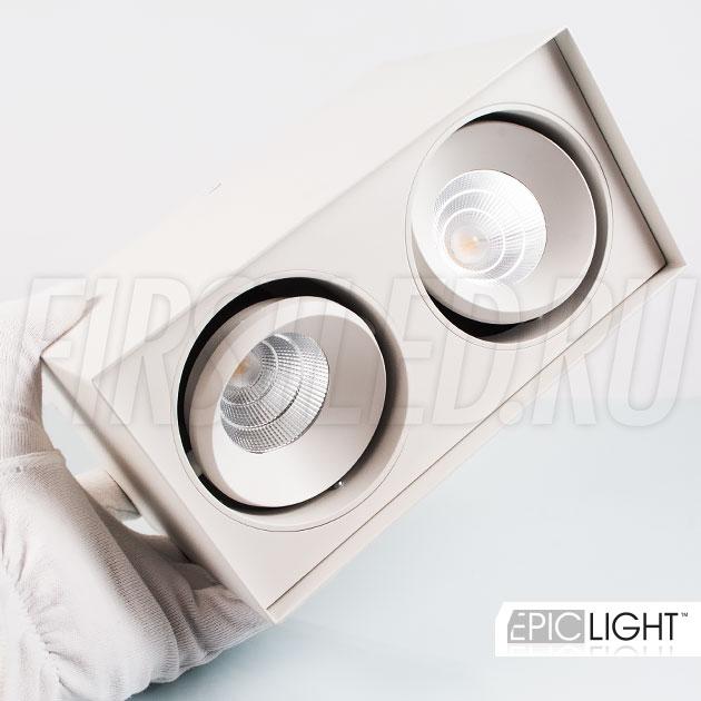 Накладной светодиодный светильник CUBOID DUO в белом корпусе