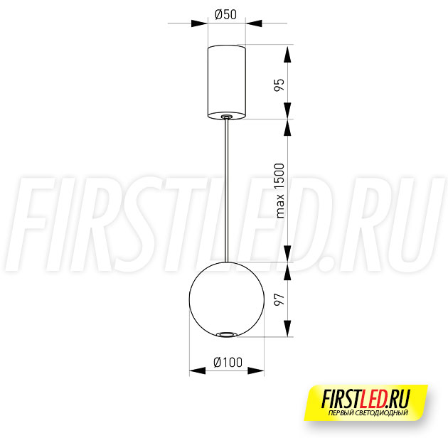 Чертеж (схема) подвесного светильника ELEMENTA ORB 9W
