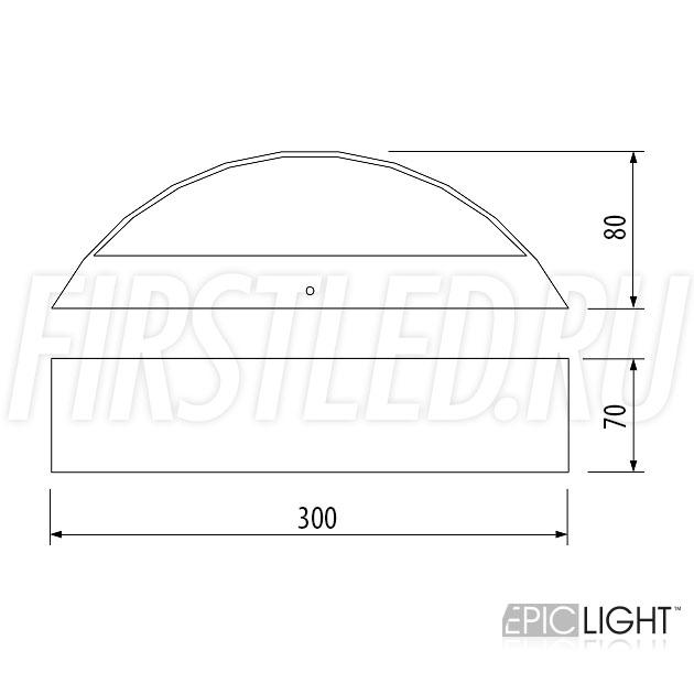 Чертеж (схема) светодиодного светильника EDGE OVALO