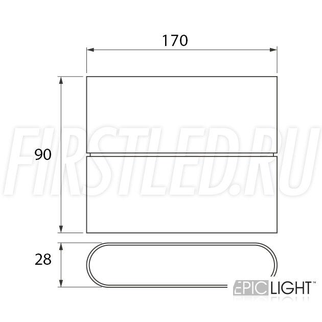 Чертеж (схема) светодиодного светильника FLATON 12W