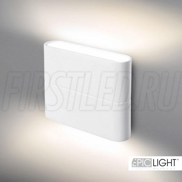 Лаконичный белый дизайн, 2 луча света в 450 Люмен, а толщина настенного светильника FLATON 6W составляет всего 28мм!