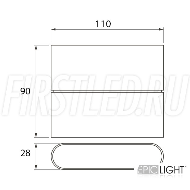 Чертеж (схема) светодиодного светильника FLATON 6W