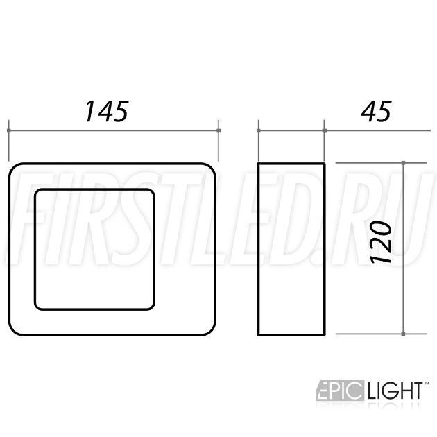 Чертеж (схема) светодиодного светильника FRAMER