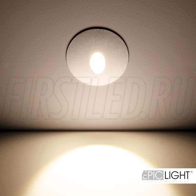 Круглый встраиваемый в стену светодиодный светильник GAP R 3W со степенью защиты IP65