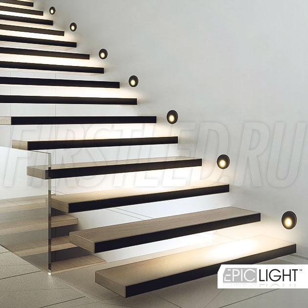 Черный круглый встраиваемый в стену светодиодный светильник GAP R 3W для подсветки лестниц