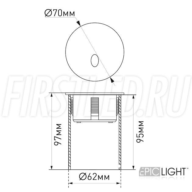 Чертеж (схема) встраиваемого в стену светильника GAP R 3W