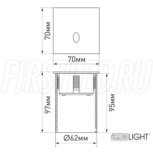 Чертеж (схема) встраиваемого в стену светильника GAP S 3W