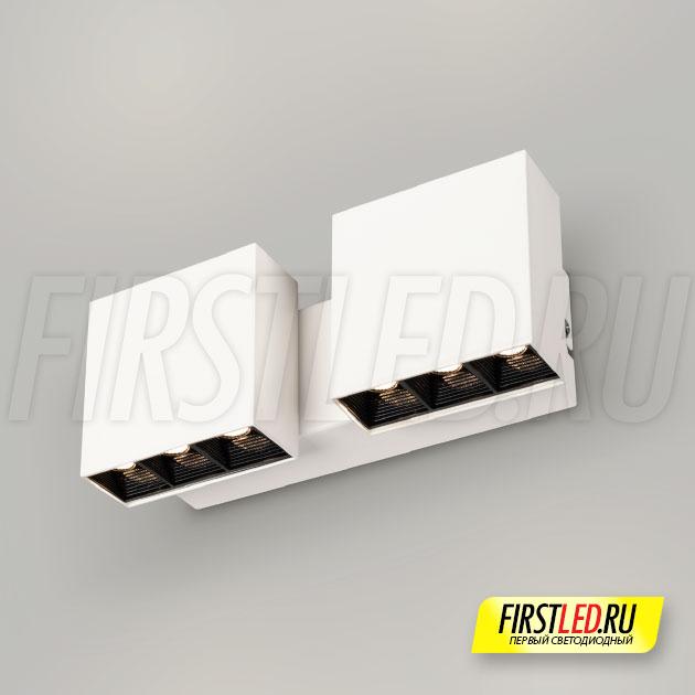 Настенный светодиодный светильник LEGACY W 2x6W в белом корпусе в интерьере