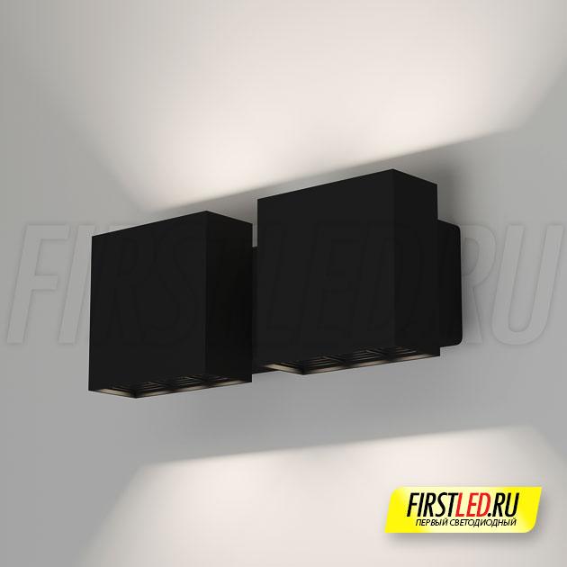 Настенный светодиодный светильник LEGACY W 2x6W в черном корпусе в интерьере
