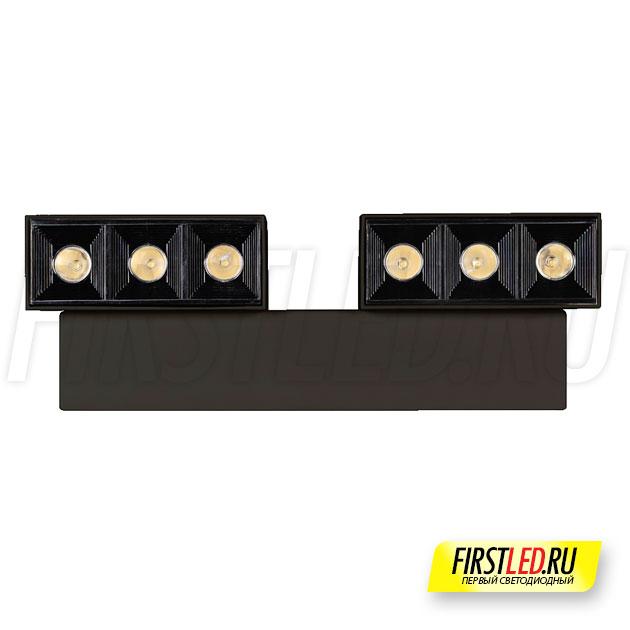 Настенный светодиодный светильник LEGACY W 2x6W в черном корпусе, вид сверху