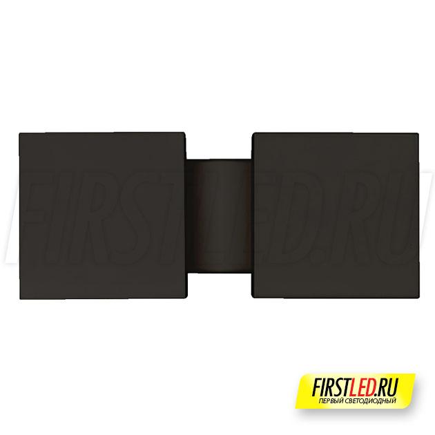 Настенный светодиодный светильник LEGACY W 2x6W в черном корпусе, вид спереди