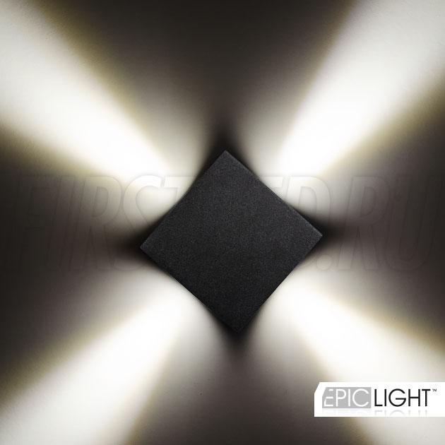 Настенный светодиодный светильник 4 луча QUADRO RAY, можно устанавливать на улице