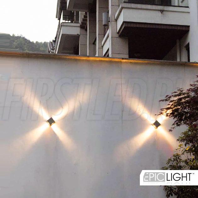 Настенный светодиодный светильник QUADRO RAY на улице