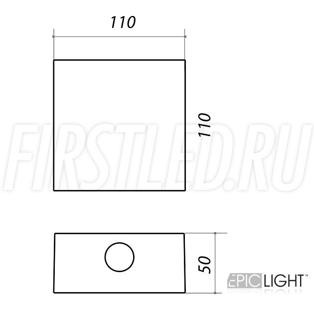 Чертеж (схема) светодиодного светильника QUADRO RAY