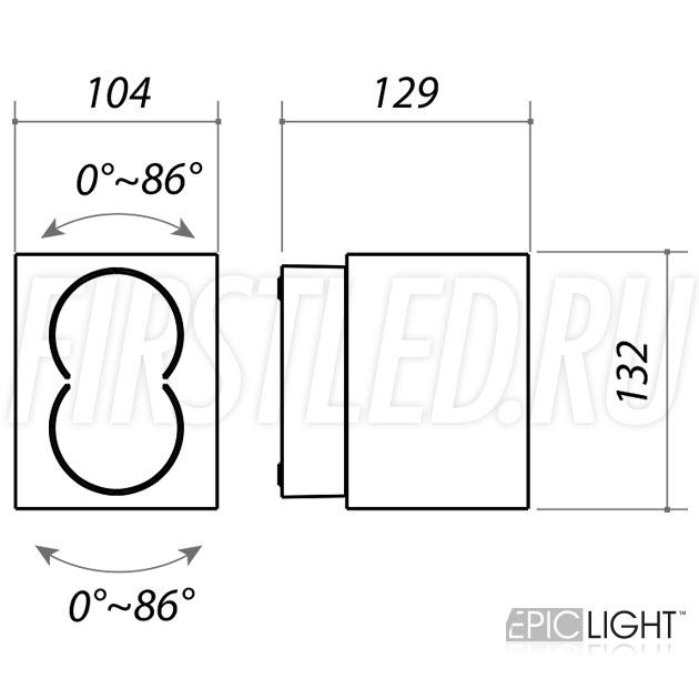 Чертеж (схема) светодиодного светильника VARION