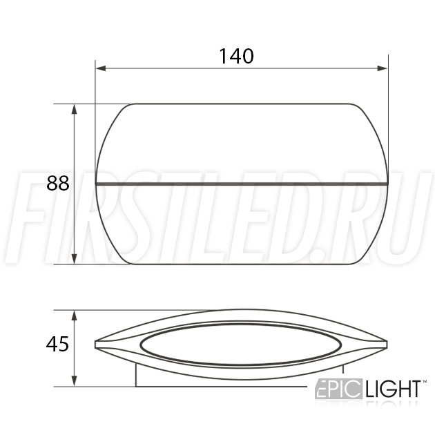 Чертеж (схема) светодиодного светильника VASON 6W