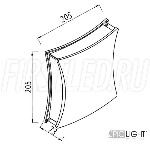 Чертеж (схема) светодиодного светильника WALL 4RAY