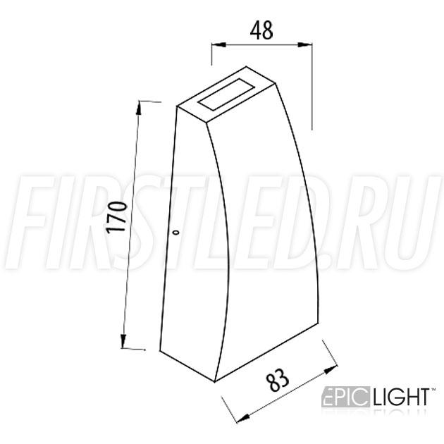 Чертеж (схема) светодиодного светильника WALL DOUBLERAY