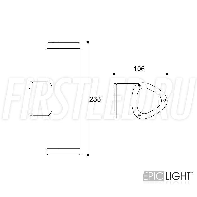Чертеж (схема) светодиодного светильника WALL DUO