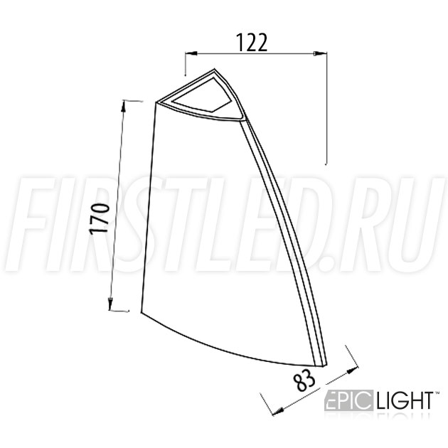 Чертеж (схема) светодиодного светильника WALL SHIPO