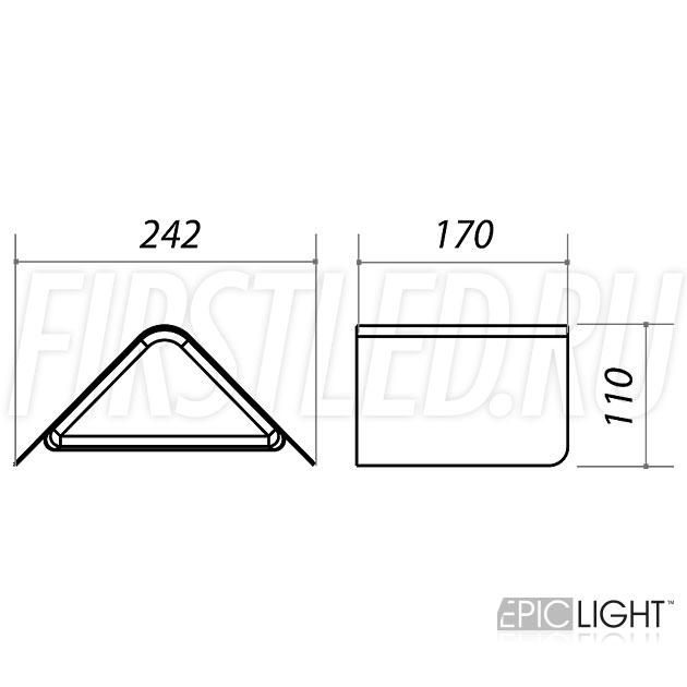 Чертеж (схема) светодиодного светильника WALL TRIA