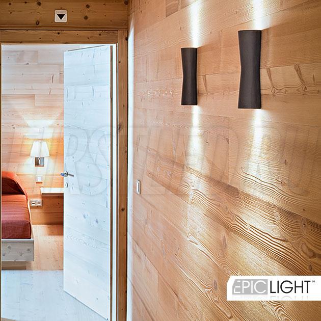 Настенный светодиодный светильник WALL TWIN в деревянном интерьере