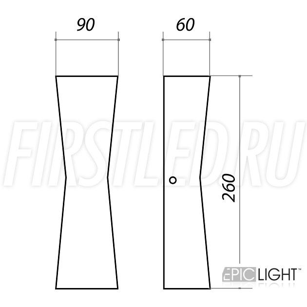 Чертеж (схема) светодиодного светильника WALL TWIN