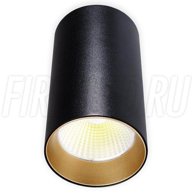 Накладной светодиодный светильник POLONIUM Black 15W (золотая вставка)