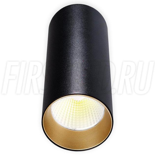 Накладной светодиодный светильник POLONIUM Black 8W (золотая вставка)