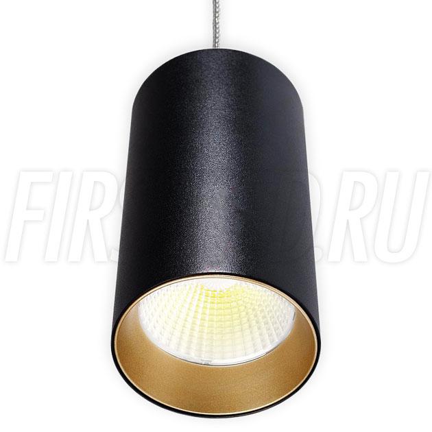 Подвесной светодиодный светильник POLONIUM S Black 15W (золотая вставка)