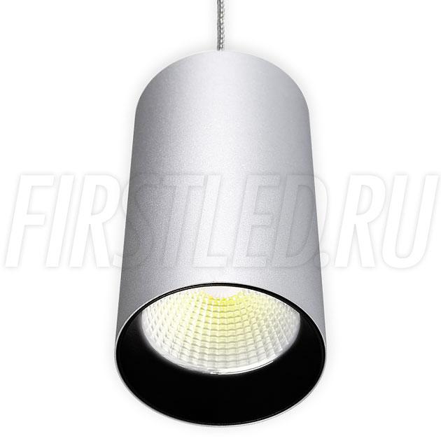 Подвесной светодиодный светильник POLONIUM S Silver 15W (черная вставка)