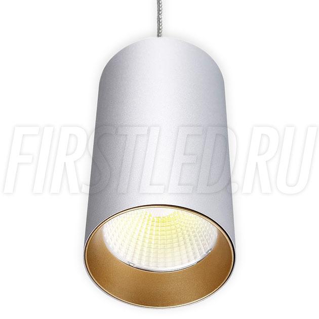 Подвесной светодиодный светильник POLONIUM S Silver 15W (золотая вставка)