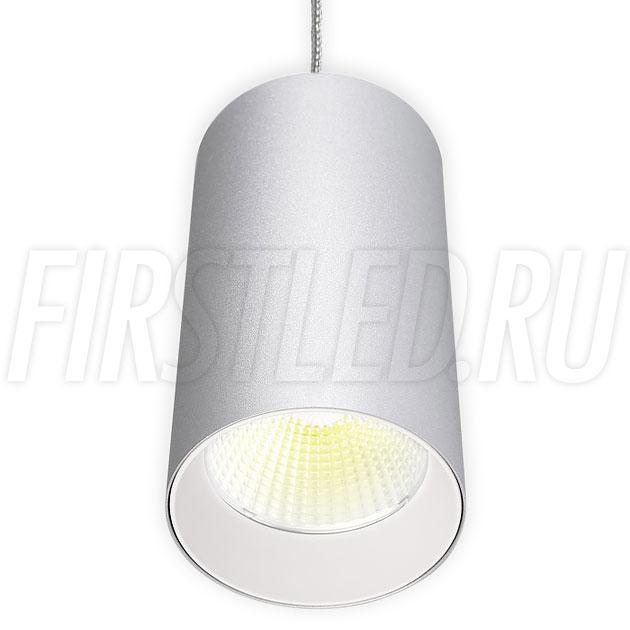 Подвесной светодиодный светильник POLONIUM S Silver 15W (белая вставка)