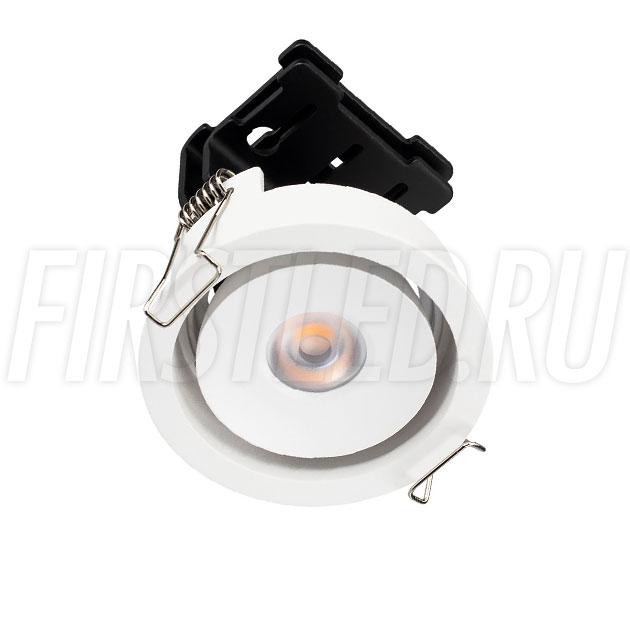 Встраиваемый круглый светодиодный светильник SIMPLE R 9W в белом корпусе