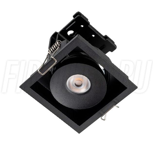 Встраиваемый квадратный светодиодный светильник SIMPLE S 9W в черном корпусе