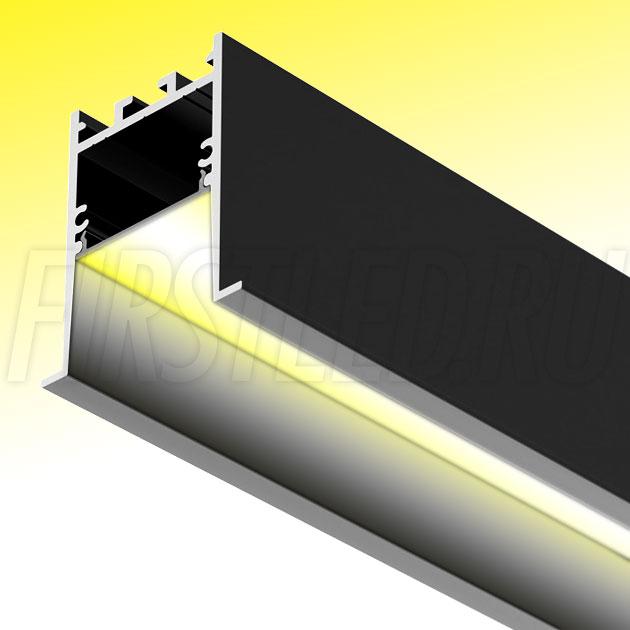Встраиваемый алюминиевый профиль TALUM HIDE E45.51 BLACK (черный)