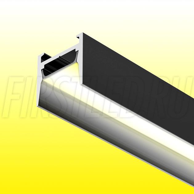 Накладной алюминиевый профиль TALUM HIDE W16.15 BLACK (черный)
