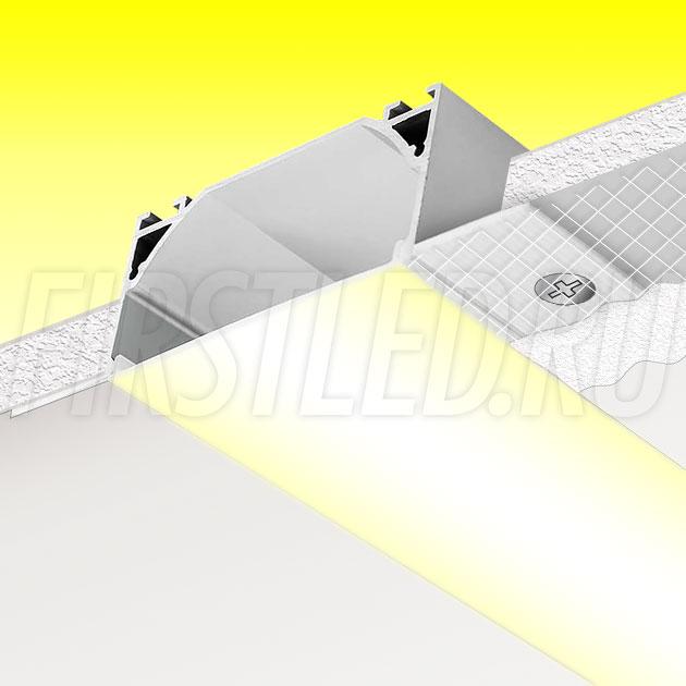 Встраиваемый алюминиевый профиль без рамок TALUM NOFRAME 72.36
