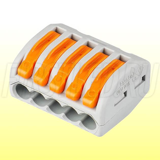 Клемма WAGO серии 222-415 (5 проводов, 2,5-4мм)